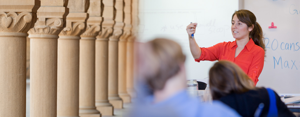 image of Stanford colums and GSE alumni teaching in a classroom
