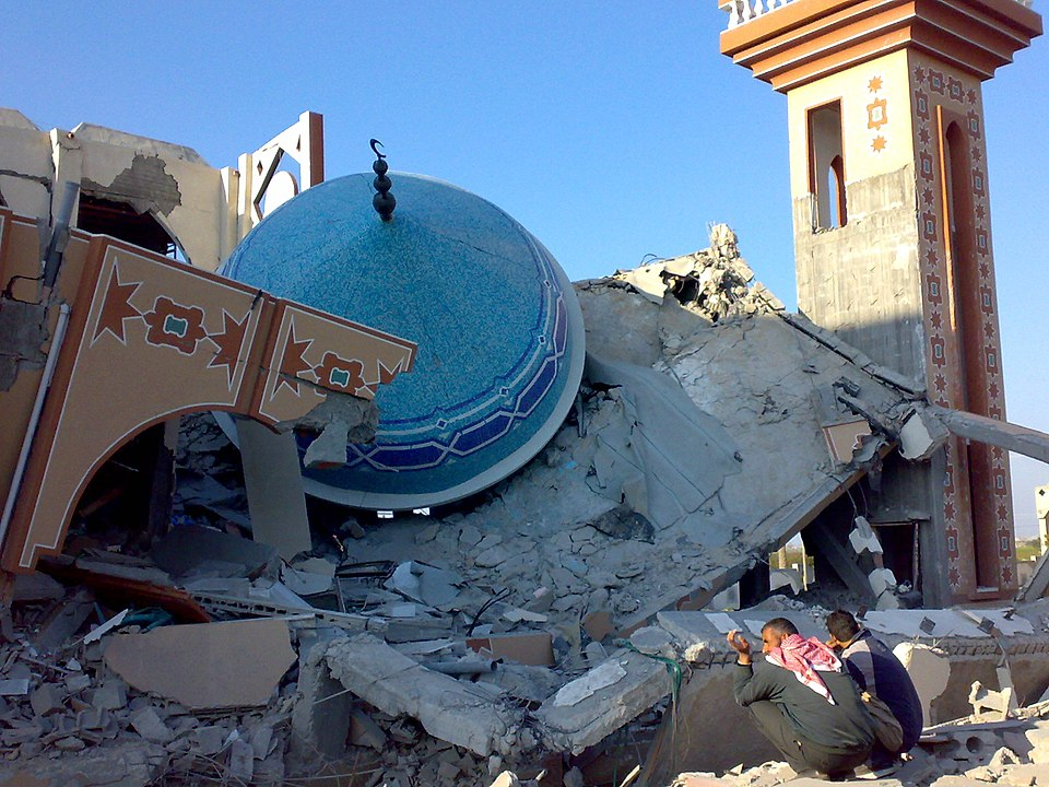 Destroyed mosque during Operation Cast Lead, Gaza, jan. 12, 2009; image found By ISM Palestine - https://www.flickr.com/photos/ismpalestine/3194424982/in/set-72157612528904592/, CC BY-SA 2.0, https://commons.wikimedia.org/w/index.php?curid=5730956