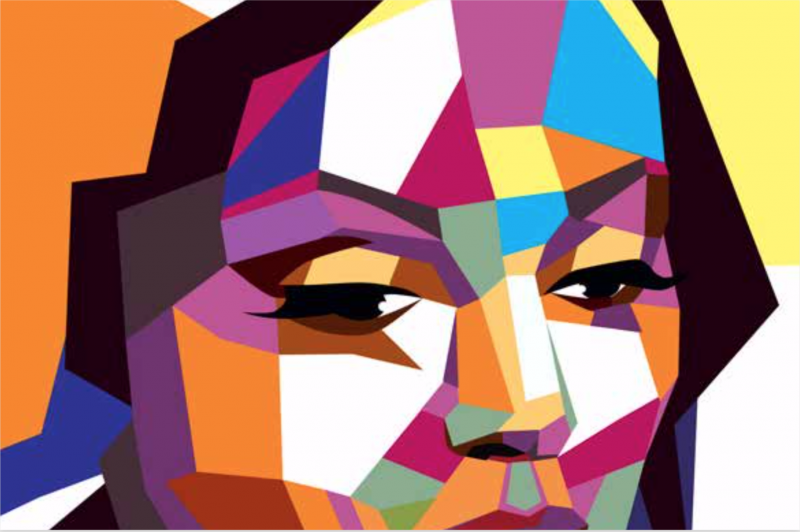 A face with a kaleidoscope prism of colors